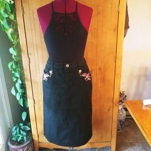 NWT Christopher Banks Denim Embroidered Skirt